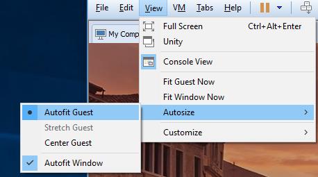 VMware Workstation Autofit Guest Einstellung – allofmybrain